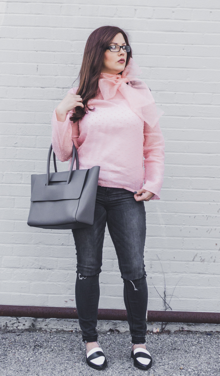 pink bow blouse, black jeans loafers spring outfit