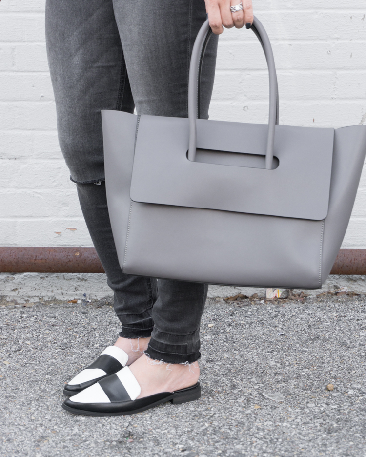 black jeans grey bag, loafers, spring outfit
