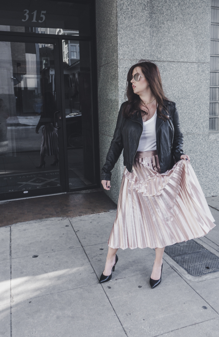 leather jacket metallic skirt, spring skirt, spring outfits, spring outfits 2017