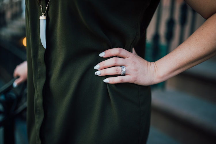 olive shirt dress horn necklace